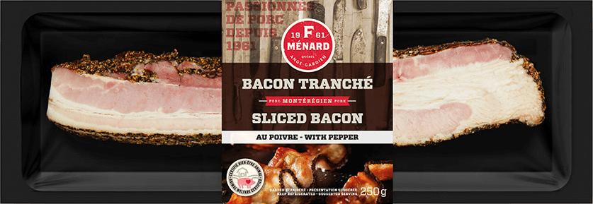 F. Ménard | Produits | Bacon tranché au poivre | 250g