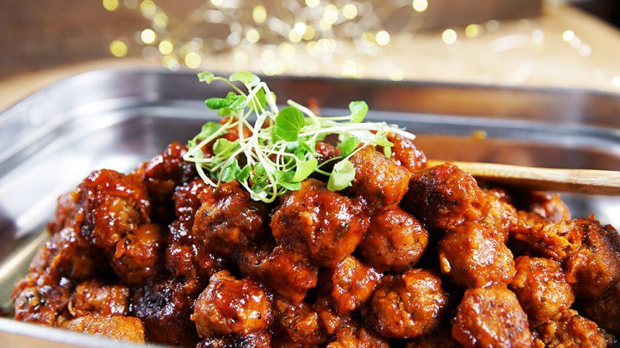 Boulettes de porc sauce chili aux pommes | Recettes | F. Ménard