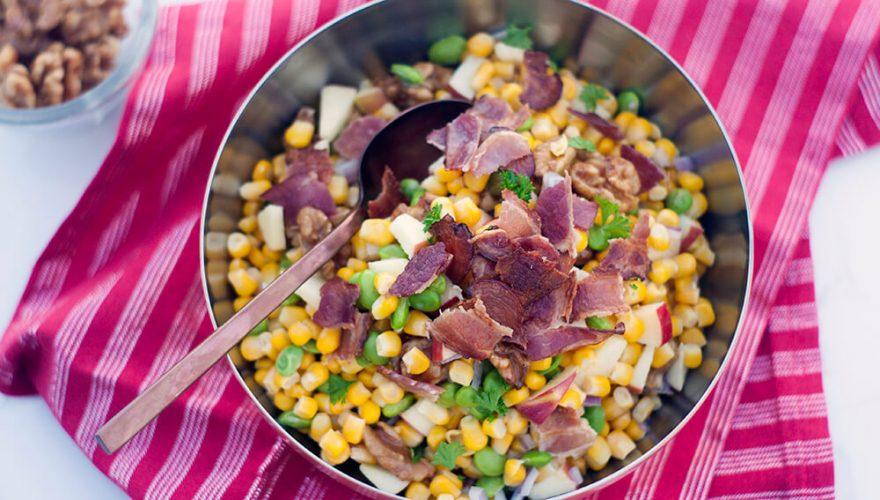 Salade au maïs grillé, edamame, bacon et noix | Recette | F. Ménard